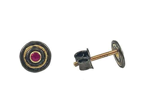 Oxidized Sterling Silver, 18K Yellow Gold and Ruby Stud Earrings