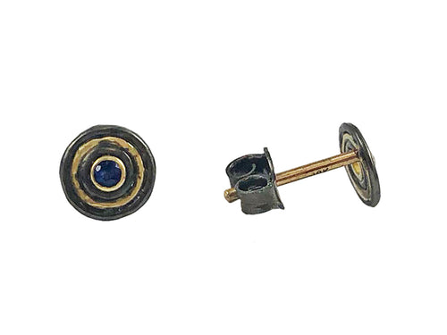 Oxidized Sterling Silver, 18K Yellow Gold and Sapphire Stud Earrings