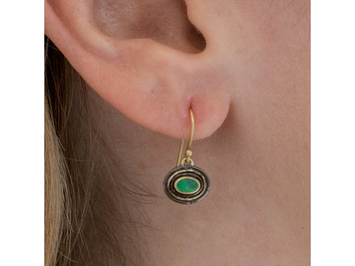 18K Yellow Gold, Oxidized Sterling Silver and Boulder Opal Earrings