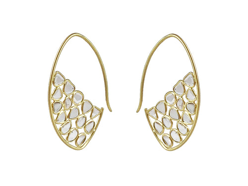 18K Yellow Gold and Polki Mosaic Diamond Hoop Earrings