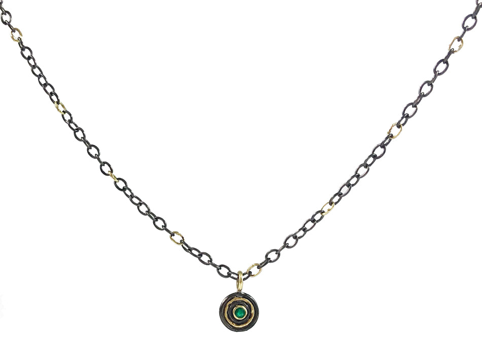 18K Yellow Gold, Oxidized Sterling Silver and Emerald Necklace