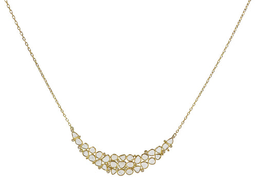 18K Yellow Gold and Polki Diamond Bib Necklace