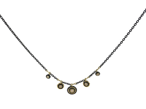 18K Yellow Gold, Oxidized Sterling Silver and Diamond Necklace