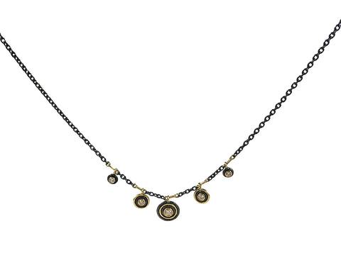 "18K Yellow Gold and Rustic ""Sunlight"" Diamond Necklace"