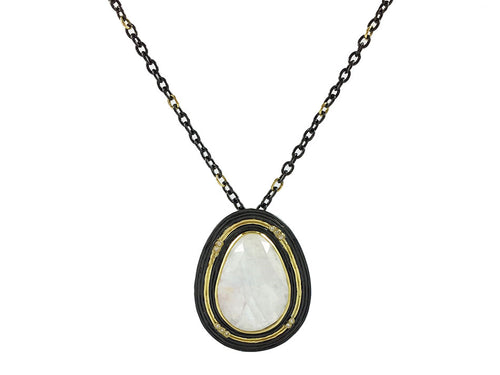 18K Yellow Gold, Oxidized Sterling Silver, Rainbow Moonstone and Diamond Necklace