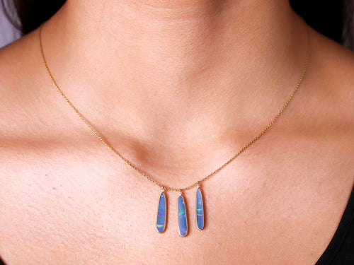 18K Yellow Gold, Opal and Diamond Necklace