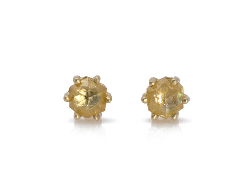 18K Yellow Gold and Rustic Diamond Stud Earrings