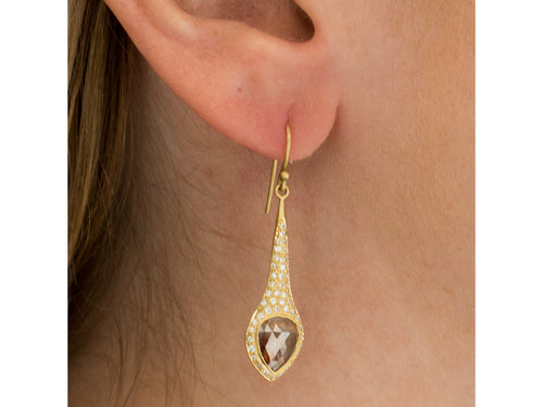 "18K Yellow Gold and Diamond ""Spire"" Earrings"
