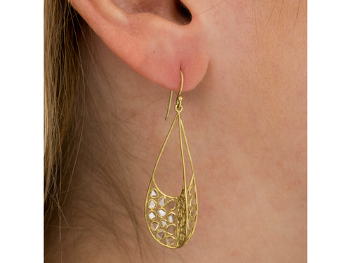 "18K Yellow Gold and Polki Diamond ""Aspect"" Earrings"
