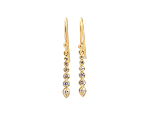 "18K Yellow Gold and Champagne Diamond ""Mini Spire"" Earrings"
