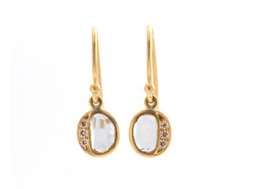 "18K Yellow Gold and Polki Diamond ""Grecian Drop"" Earrings"