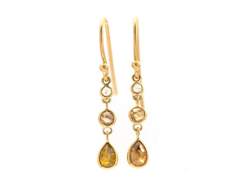 "18K Yellow Gold and Rustic Diamond ""Cascade"" Earrings"