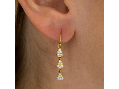 18K Yellow Gold and Pavé Polki Diamond Earrings