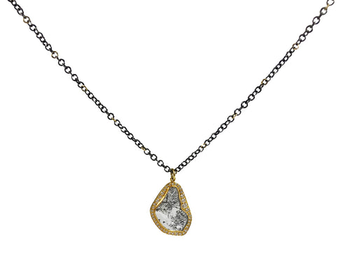 18K Yellow Gold, Oxidized Sterling Silver and Diamond Slice Necklace