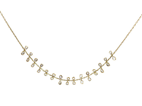 "18K Yellow Gold and Polki Diamond ""Tendril"" Necklace"