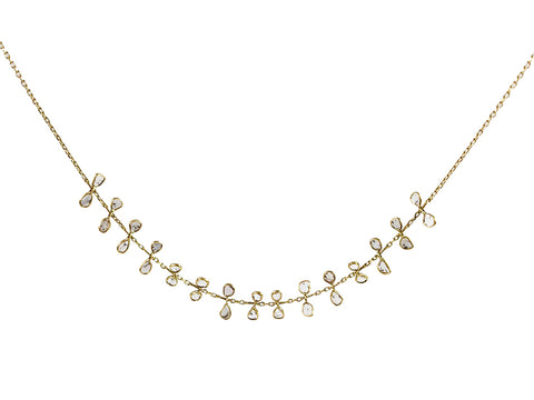 18K Yellow Gold and Rustic Diamond Necklace