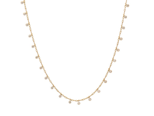 18K Yellow Gold and Champagne Diamond Fringe Necklace