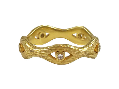 "18K Yellow Gold and Diamond ""Eyes"" Eternity Ring"