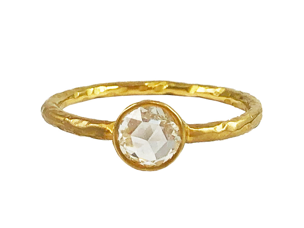 18K Yellow Gold and Rose Cut Diamond Ring