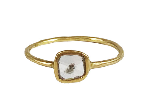 18K Yellow Gold and Rose Cut Rustic Diamond Ring