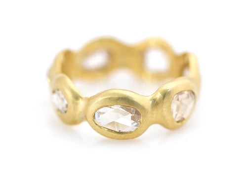 18K Yellow Gold and Old Rose Cut Diamond Eternity Ring