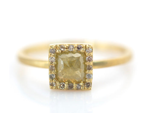 18K Yellow Gold and Yellow Rustic Diamond Ring