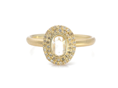 18K Yellow Gold and Rustic Rose Cut Diamond Ring