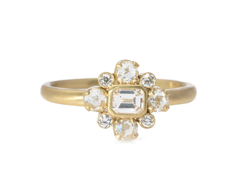 18K Yellow Gold and Baguette Center Diamond Ring