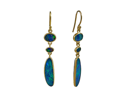 18K Yellow Gold and Boulder Opal Earrings