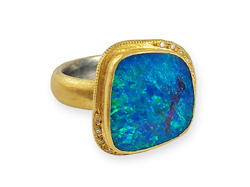 24K Yellow Gold, Sterling Silver, Opal Doublet and Diamond Ring