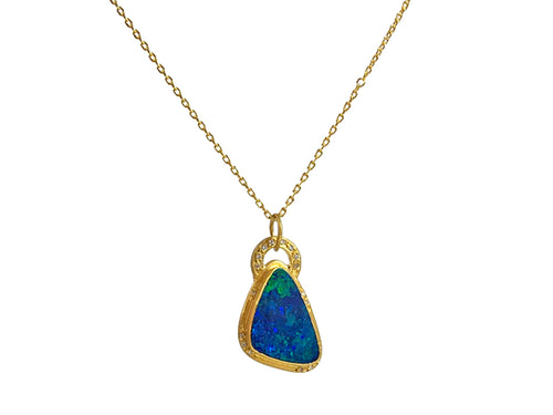 Night Sky Opal And Diamond Necklace