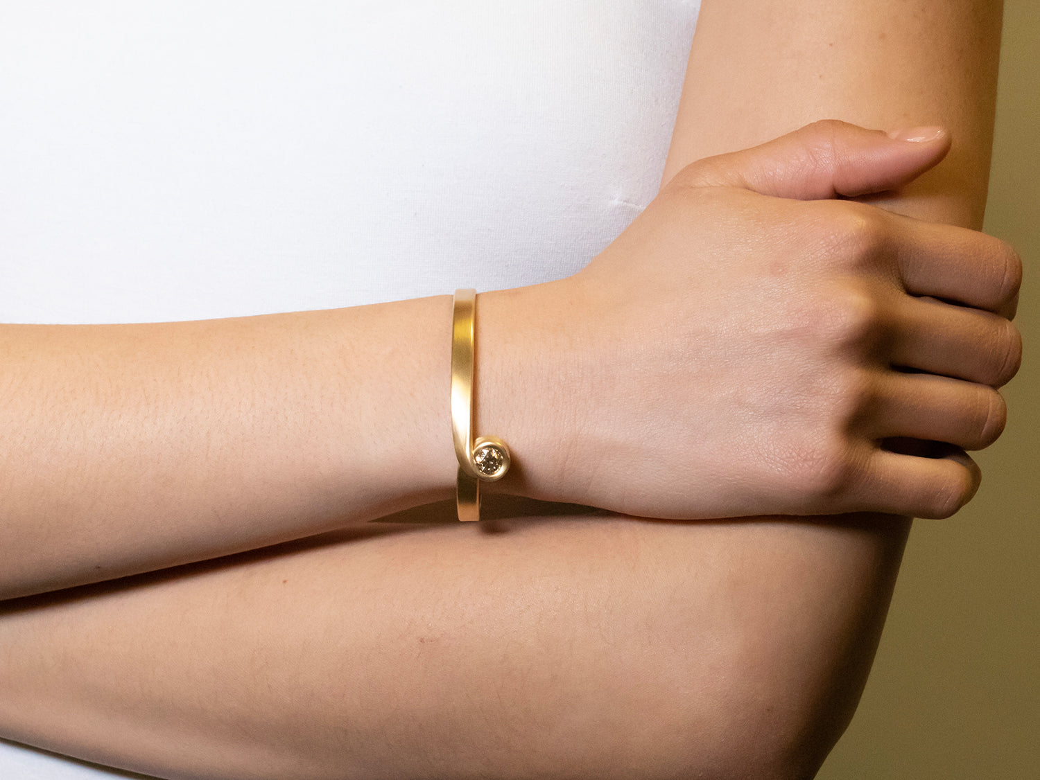 Champagne Diamond Cuff Bracelet in Yellow Gold