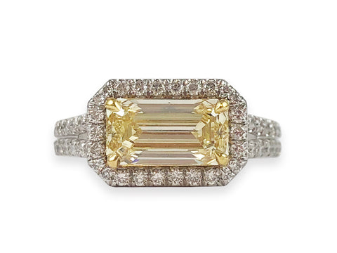 18K Yellow Gold, Platinum and Halo Diamond Engagement Ring