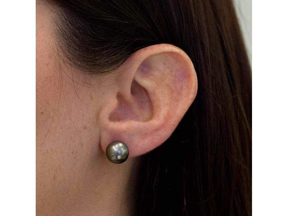 14K White Gold and Tahitian Pearl Stud Earrings