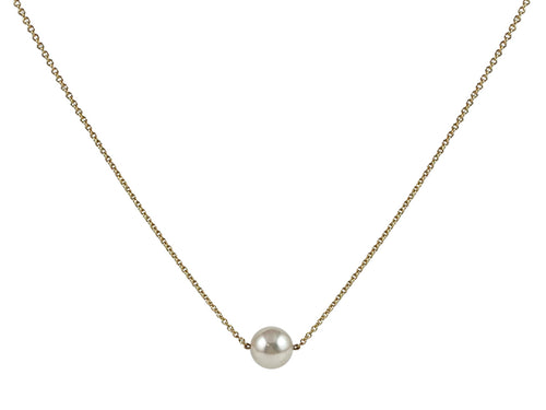 14K Yellow Gold and Akoya Pearl Necklace