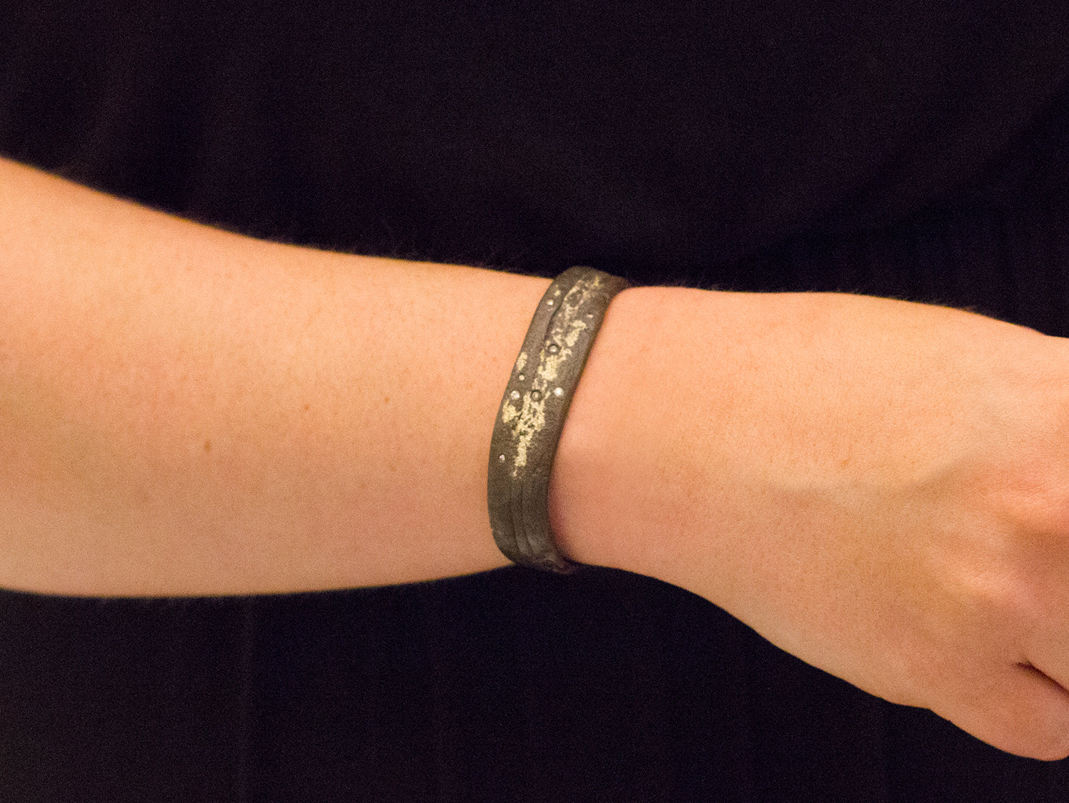 Oxidized Sterling Silver, 18K Gold Dust and Champagne Diamond Cuff Bracelet