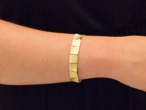 "Majoral 18K Yellow Gold and Diamond ""Waves"" Bracelet"