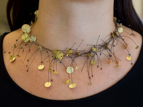 "18K Yellow Gold And Black Diamond ""Pluja"" Necklace"