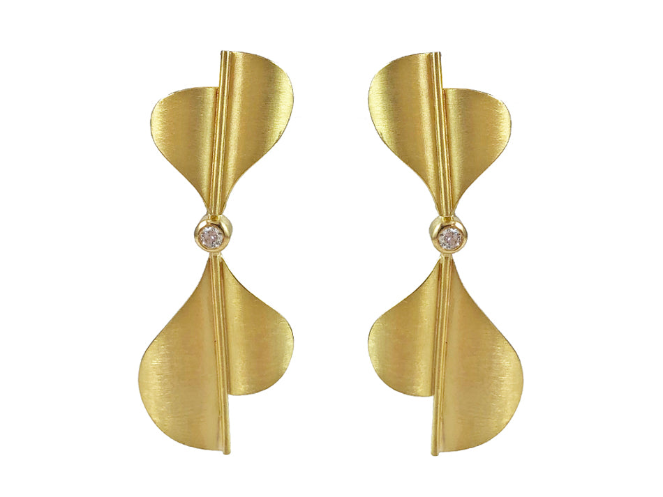 "Majoral 18K Yellow Gold and Diamond ""Silk"" Earrings"