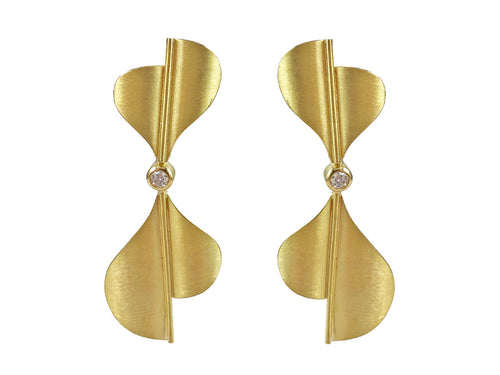 "18K Yellow Gold and Diamond ""Silk"" Earrings"