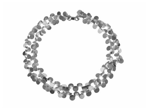 "Silver Double Row ""Papallones"" Necklace"