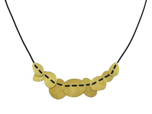 "Gold and String ""Planets 9"" Necklace"