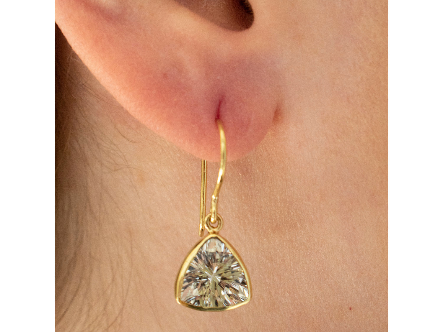 18K Yellow Gold, Sterling Silver and White Topaz Earrings in Washington DC