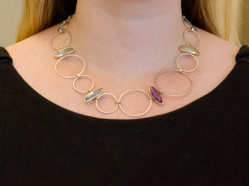 18K Yellow Gold, Sterling Silver, Amethyst, Aquamarine and Lemon Quartz Necklace