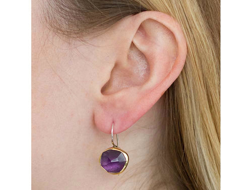 18K Yellow Gold, Sterling Silver and Amethyst Earrings