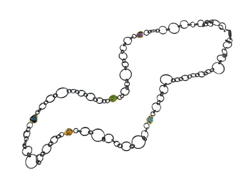 Oxidized Sterling Silver, 18K Yellow Gold And Multi-Gemstone Necklace