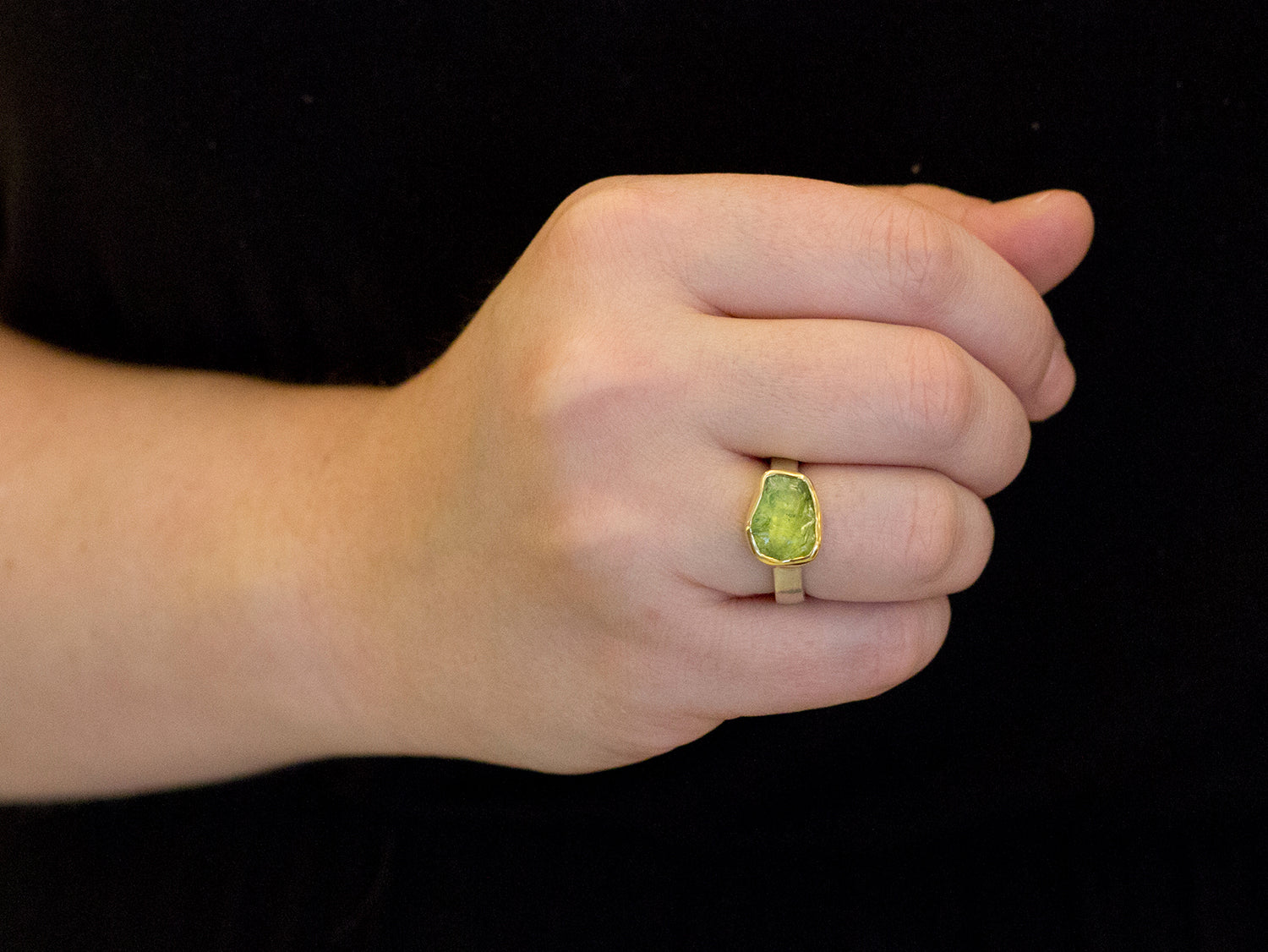 18K Yellow Gold, Sterling Silver and Peridot Ring