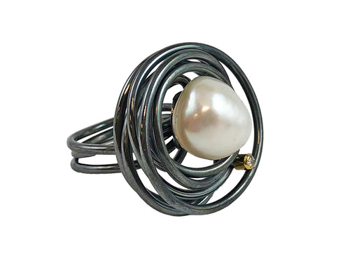Oxidized Sterling Silver, 18K Yellow Gold, Pearl and Diamond Ring
