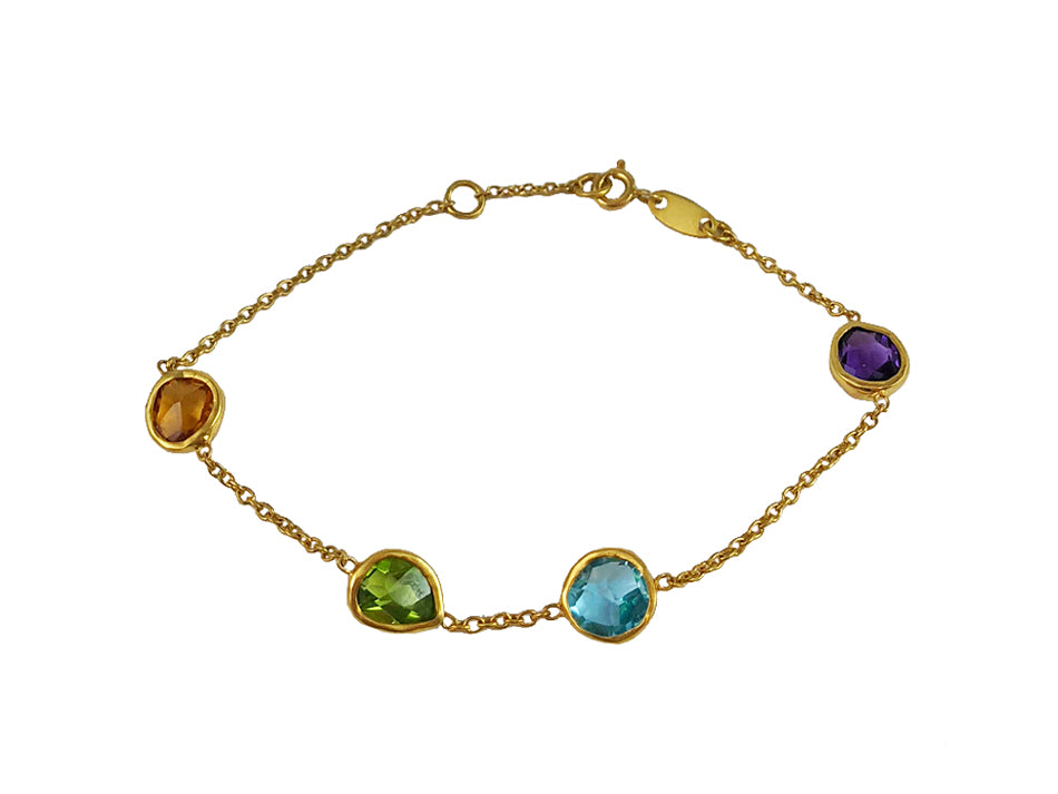 18K Yellow Gold, 14K Yellow Gold and Multi-Gemstone Bracelet