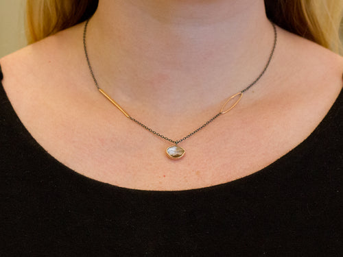 18K Rose Gold, Oxidized Sterling Silver and Morganite Necklace